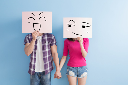 billboard background: young couple take smile billboard isolated on blue background