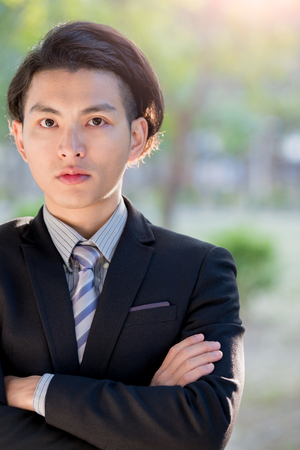 cross: business man feel serious and think something, asian Stock Photo