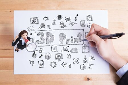 letter: business woman with hand drawing 3D printer and talk megaphone stand on paper