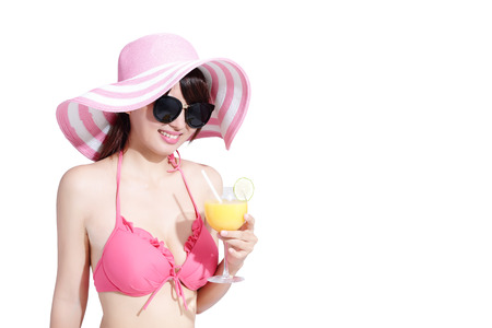 yellow teeth: beauty woman wear bikini and take orange juice smiling with isolated white background, asian