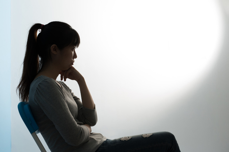 The depression woman sit on the chair