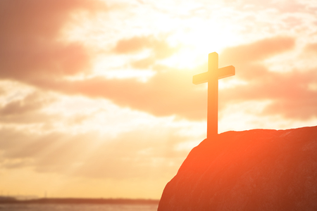 silhouette of cross - symbol of God love to people Stock Photo