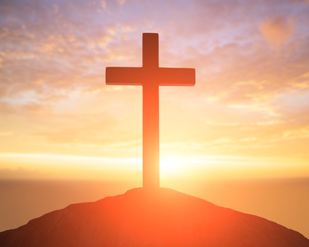 revive: silhouette of cross - symbol of God love to people Stock Photo