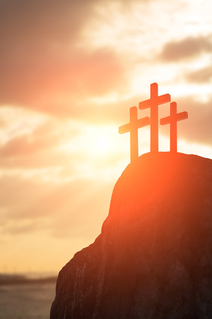 shadow: silhouette of cross - symbol of God love to people Stock Photo