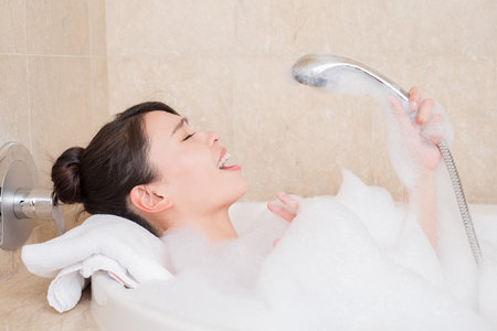 beauty woman relax and take bath in the bathroom
