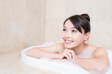 fashion: beauty woman take bath in the bathroom Stock Photo