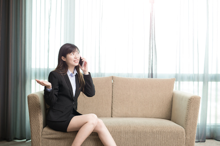 hand: business woman smile happily and talk on phone Stock Photo