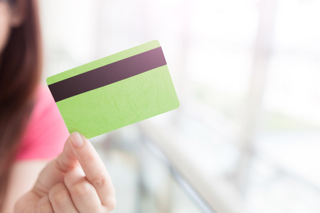 fashion: close up credit cards in the shopping mall