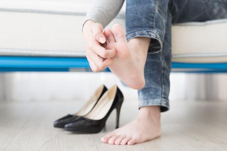여자 선수 발 건강 개념을 가까이