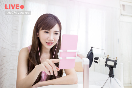 house call: beauty woman smile in live at home Stock Photo