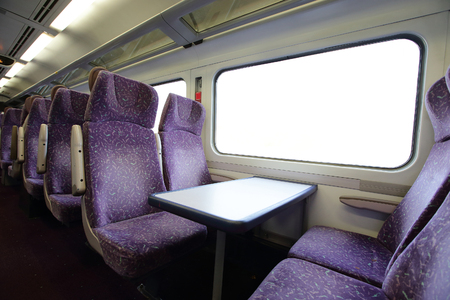 stateroom: train with blank window for your travel concept