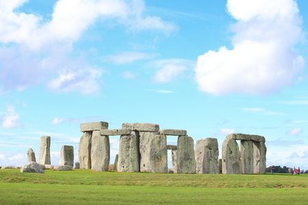 old english: Stonehenge an ancient prehistoric stone monument near Salisbury Stock Photo
