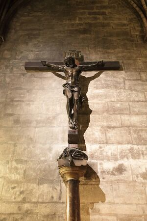 Christ statue in Notre Dame for your travel concept