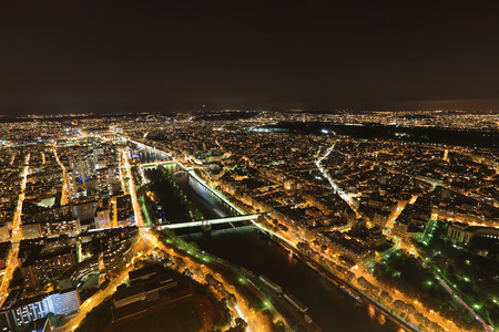 beautiful Aerial Night view of Paris in the night