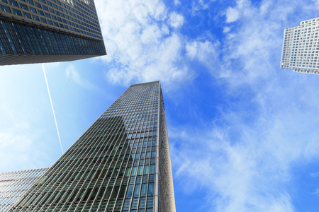 isles: Business building shot in Canary Wharf financial district in London Stock Photo