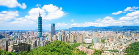 Het panorama van de taipei stad van de ochtend in de Taiwan Stockfoto - 89214634