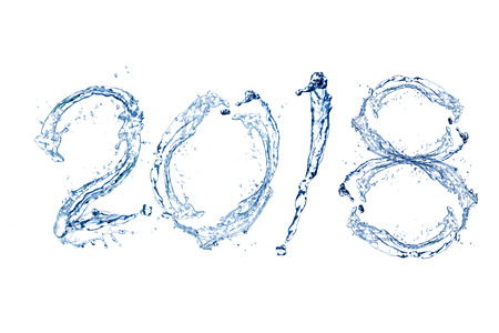 白い背景に分離された水の純粋なスプラッシュで幸せな新しい年 2018 写真素材
