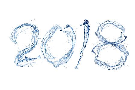 Gelukkig Nieuwjaar 2018 door Zuivere plons van water die op witte achtergrond wordt geïsoleerd