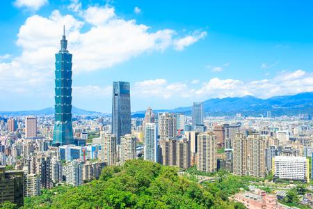 Het panorama van de taipei stad van de ochtend in de Taiwan Stockfoto - 89214840