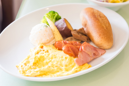 scrambled: close up brunch on the white paste Stock Photo