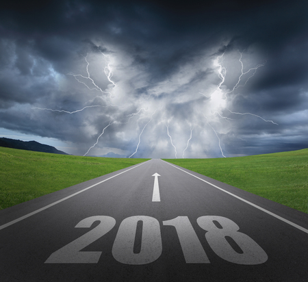 danger to 2018 new year concept with rainstorm clouds and lightning