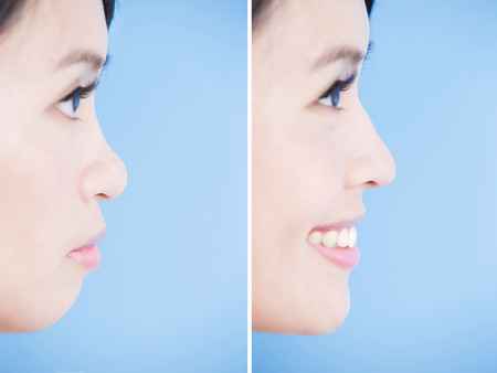 close up woman chin and nose on the blue background