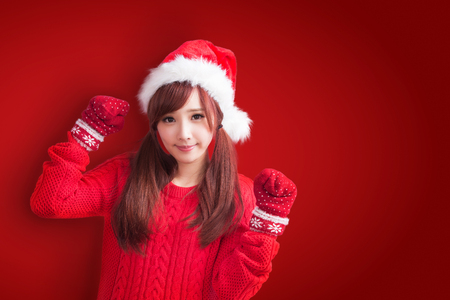 beauty woman with christmas on the red background