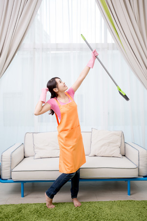 woman feel excited in the living room