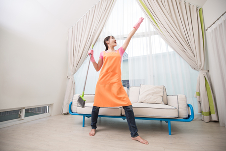 woman feel happy in the living room Stock Photo