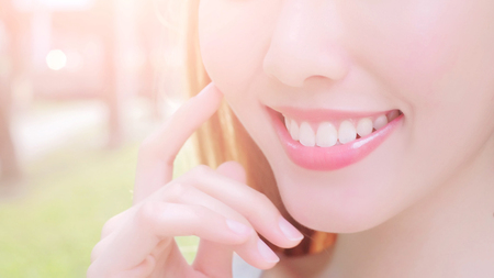 close up of beauty woman smile with health teeth