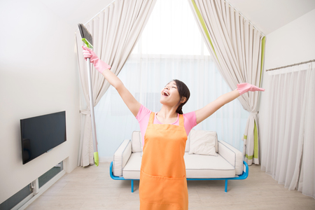 woman feel free in the living room