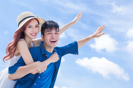 couple feel free and enjoy with blue sky Stock Photo