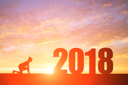 silhouette of businesswoman run with 2018 year Archivio Fotografico