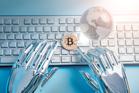 Bitcoin business with Global Concept on the table