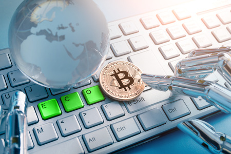 bitcoin business with Global eco Concept on the table