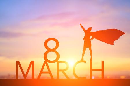 super bohaterowie biznesu ludzie z koncepcją szczęśliwego dnia kobiet