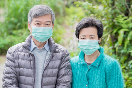 old couple get cold in the mountain