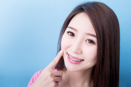 woman touch her face and smile happily on the blue background