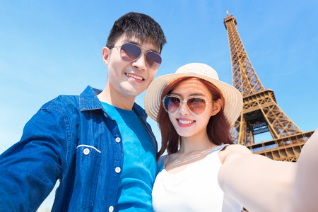 couple travel to paris and selfie happily  Stock Photo
