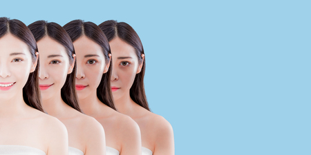 woman with skin whitening concept on the blue background 스톡 콘텐츠