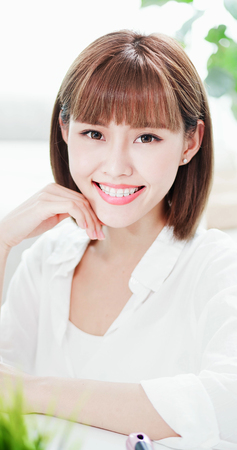 Beauty woman smile to you with the brace retainer for tooth