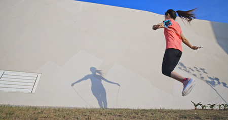 woman sport  and rope skipping outdoor