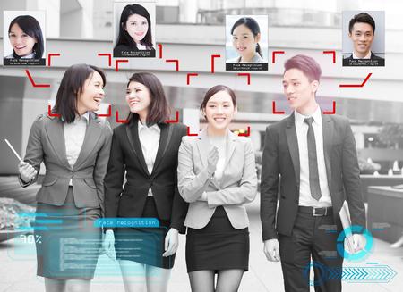 portrait d'hommes d'affaires reconnus avec un système d'apprentissage intellectuel