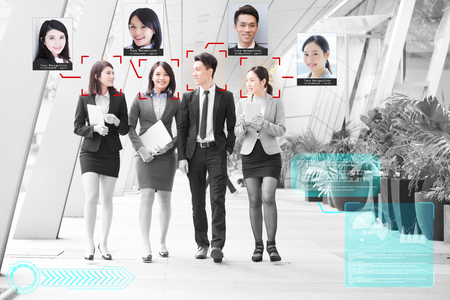 portrait of businesspeople face recognized with intellectual learning system