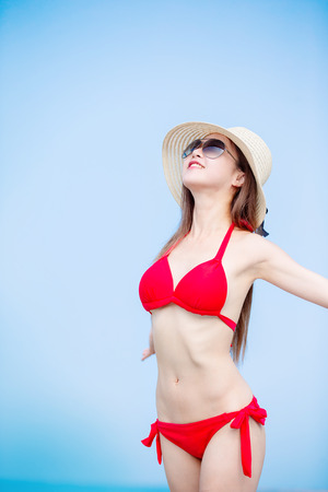 asian woman enjoy the summer vacation and happily Stock Photo