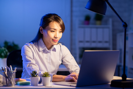 Asian woman overtime work alone in the office