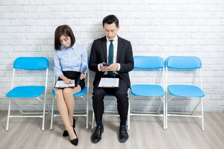Applicants prepare for interview and feel nervous in waiting room 스톡 콘텐츠 - 124707455