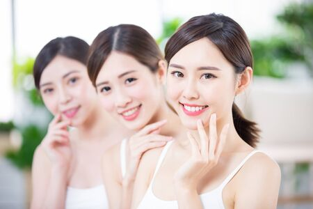 Skin care asian women smile happily to you