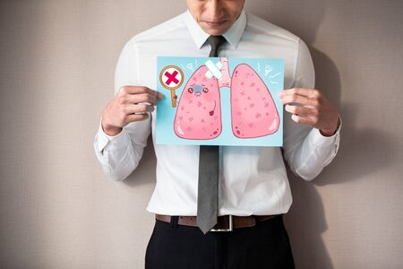 buinessman with unhealthy lung and feel upset