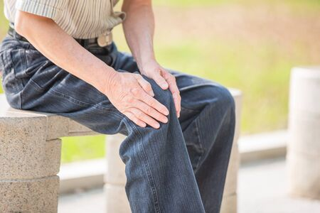Older man have Knee problem and feel pain